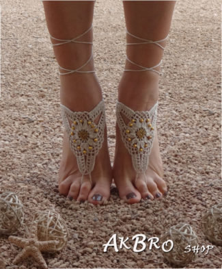Golden Crochet Barefoot Sandals front