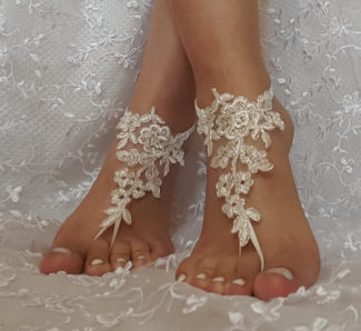 Silver Framed Ivory Lace Barefoot Sandal right