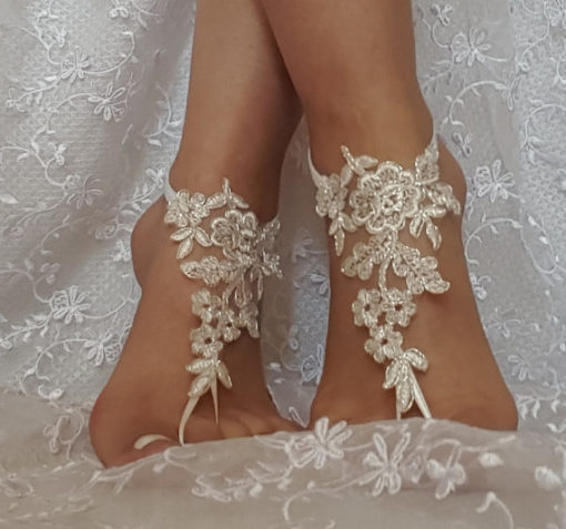 Silver Framed Ivory Lace Barefoot Sandal front