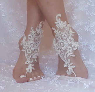Crystalline Shining Ivory Lace Barefoot Wedding Sandals angle