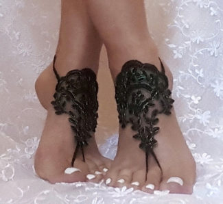 Neon Green Framed Black Lace Barefoot Sandals right
