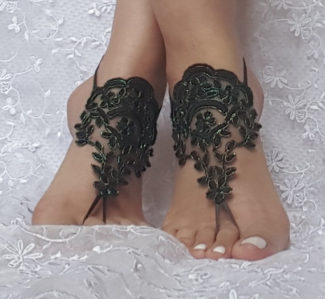 Neon Green Framed Black Lace Barefoot Sandals Left