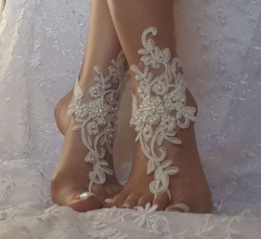 Ivory Beach Wedding Barefoot Sandals left over right