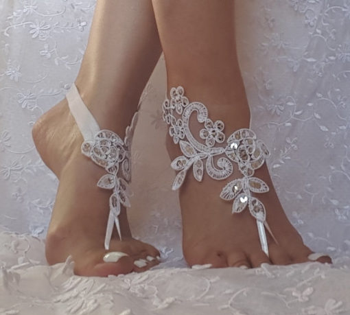 Ivory Lace With Silver Sequin Barefoot Sandals