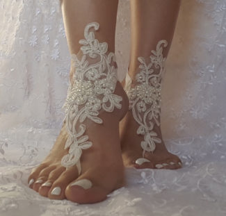 Ivory Beach Wedding Barefoot Sandals front side