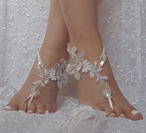 Bridal Barefoot Sandals With Beads and Sequins